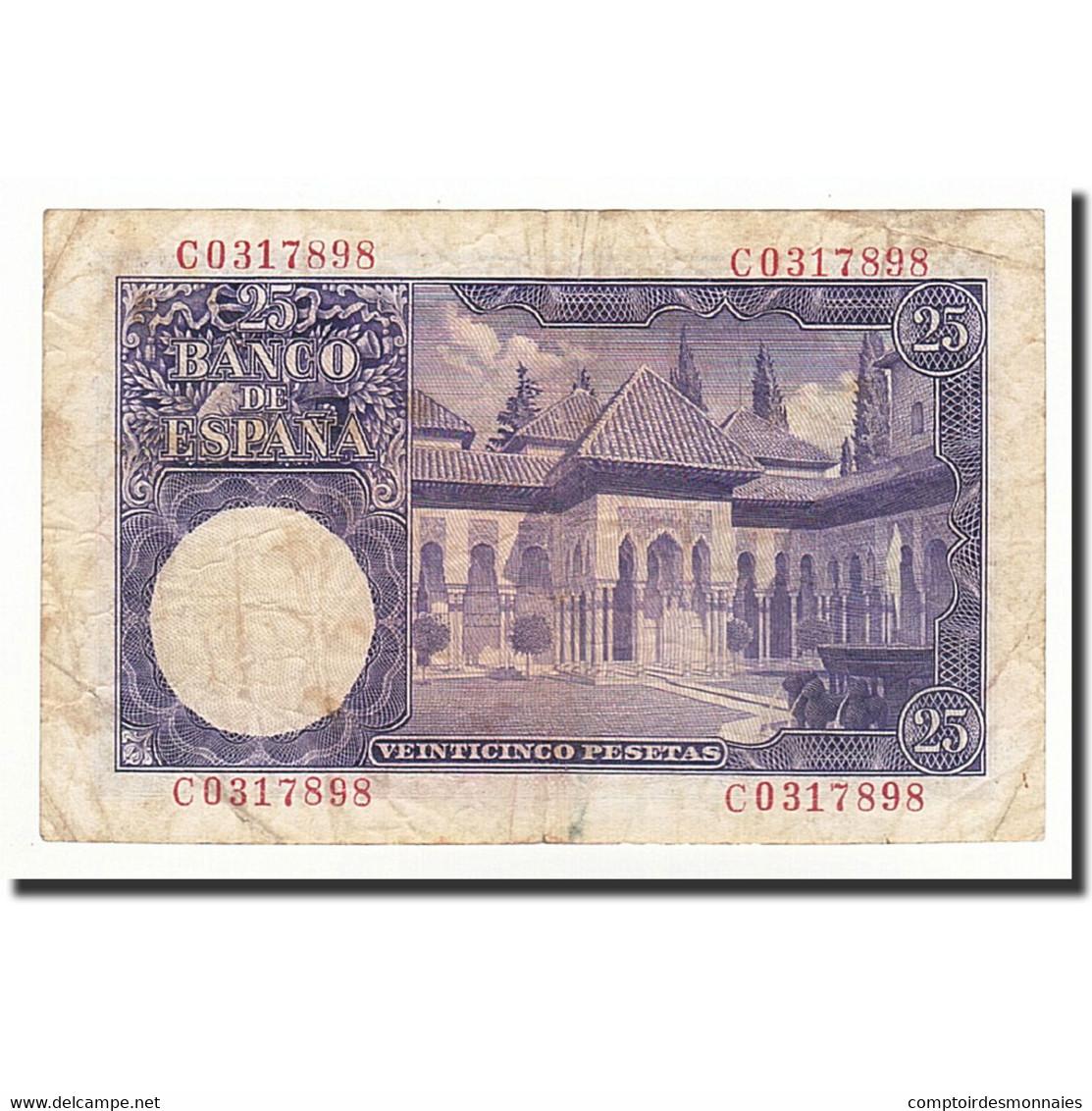 Espagne, 25 Pesetas, 1954, KM:147a, 1954-07-22, TB - [ 3] 1936-1975 : Regime Di Franco