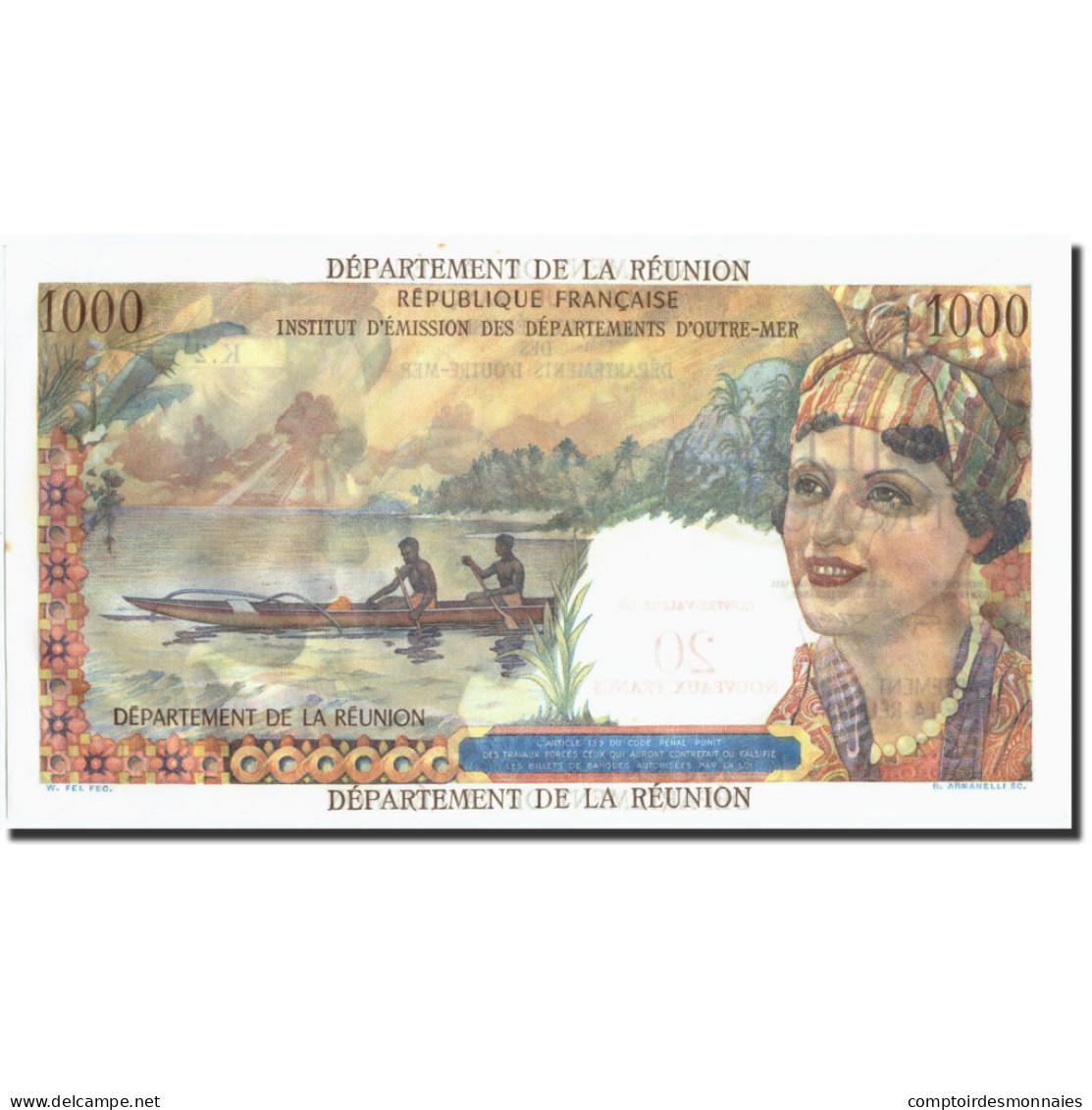 Réunion, 20 Nouveaux Francs On 1000 Francs, Undated (1967-71), KM:55b, SPL - Réunion