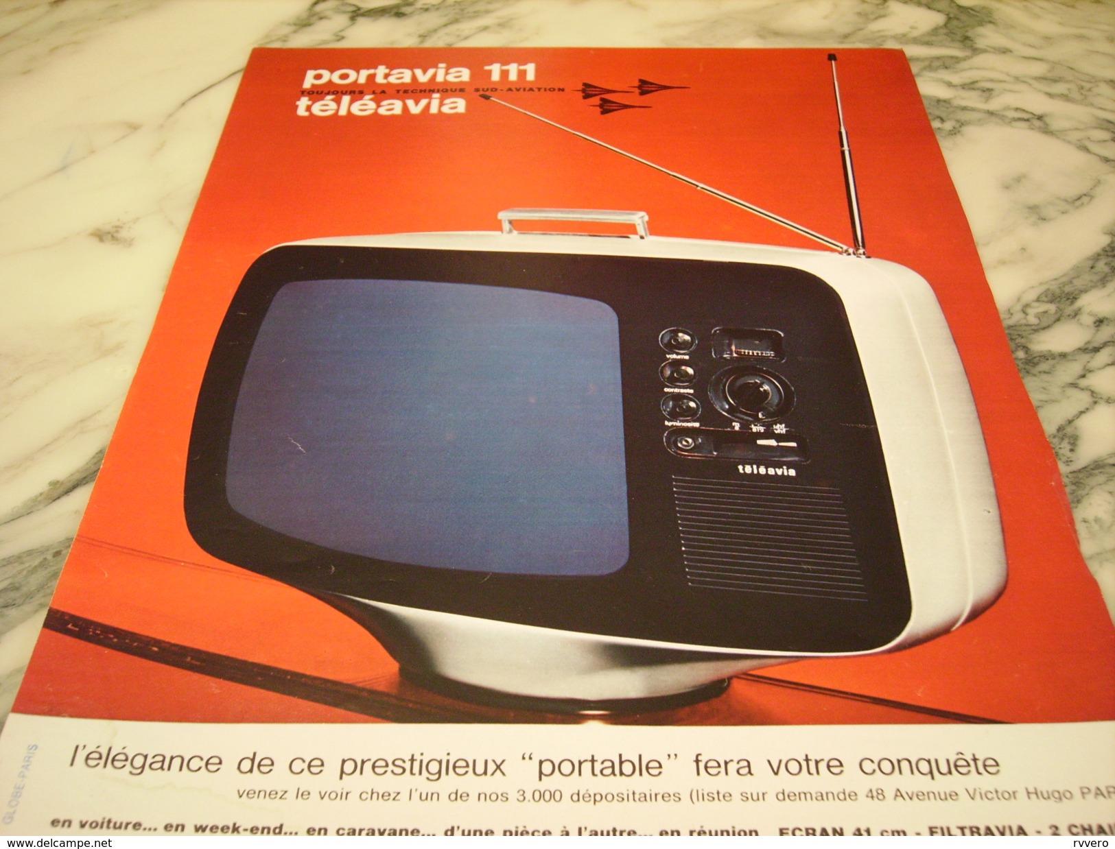 ANCIENNE PUBLICITE PORTAVIA 111 TELEVISION TELEAVIA 1966 - Pubblicitari