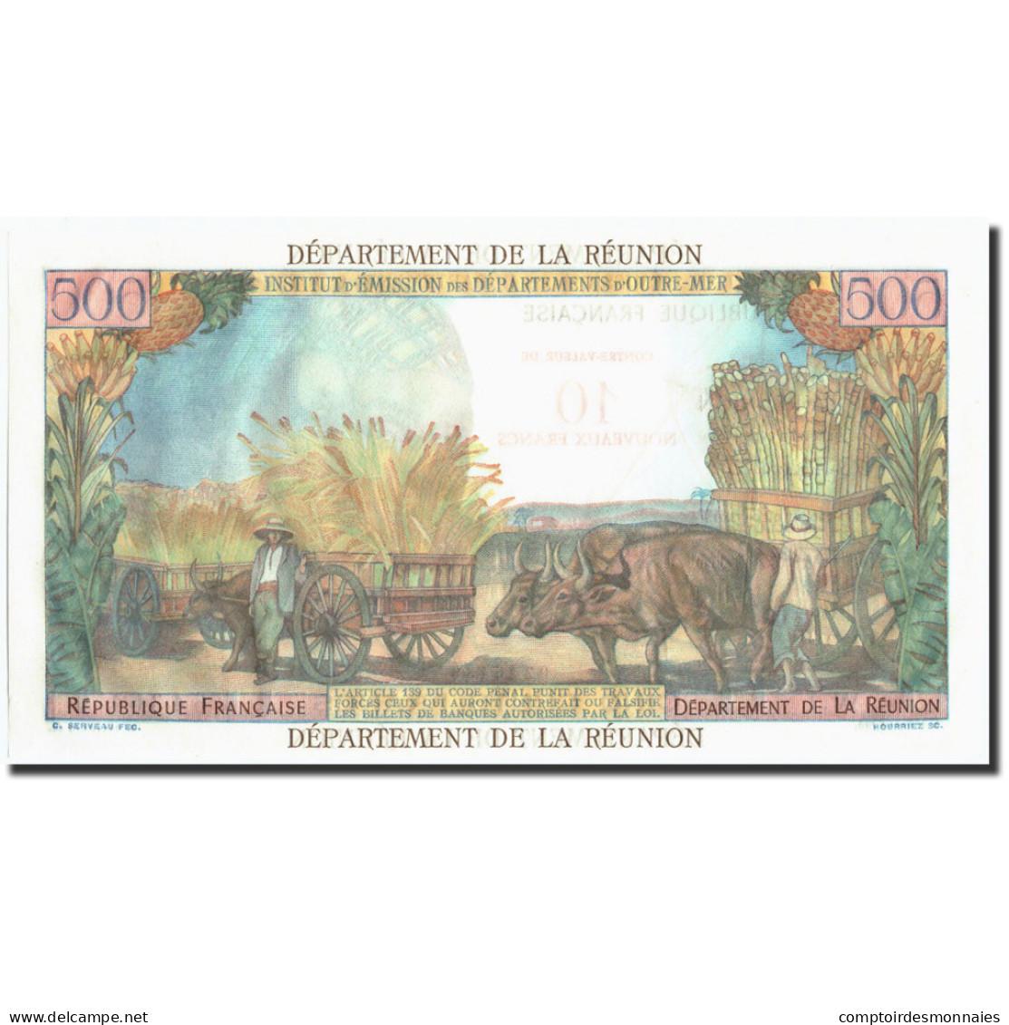 Réunion, 10 Nouveaux Francs On 500 Francs, Undated (1953), KM:54a, SPL - Réunion