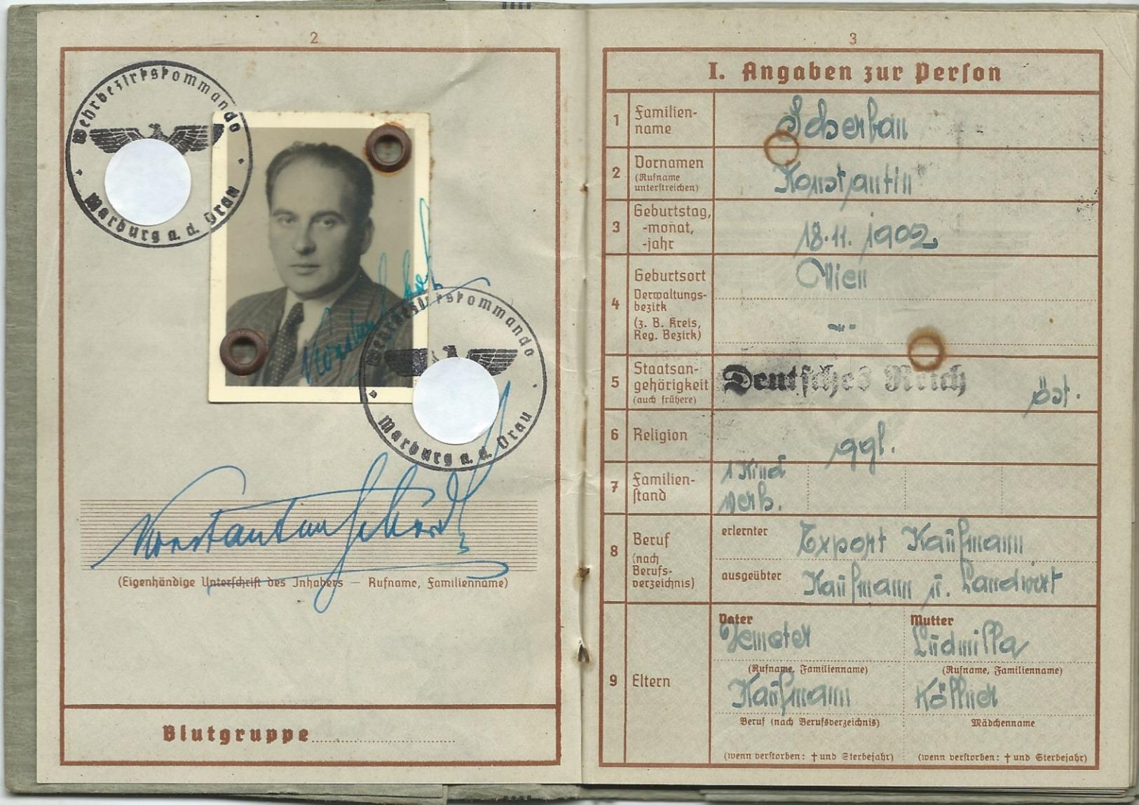 Wehrpaß Eines SS-Mannes, Ausgestellt In Marburg/Drau 1943, Eintr. SS-Totenkopf,SS-Junkerschule Bad Tölz,Ing.Rgt.Westland - Dokumente