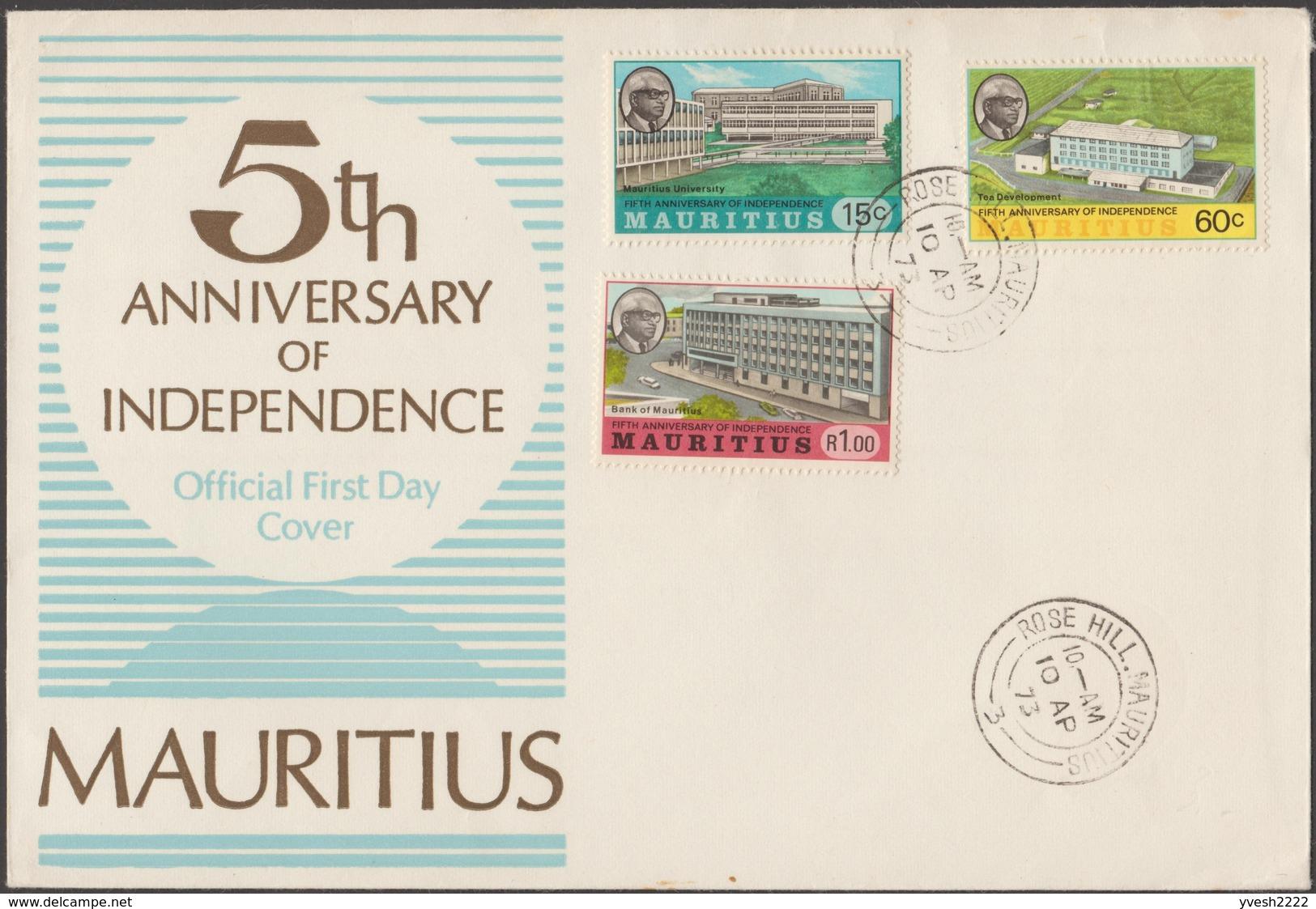 Maurice 1973 Y&T 389/91, Michel 391/3. 5 Ans D'indépendance Sur FDC - Maurice (1968-...)