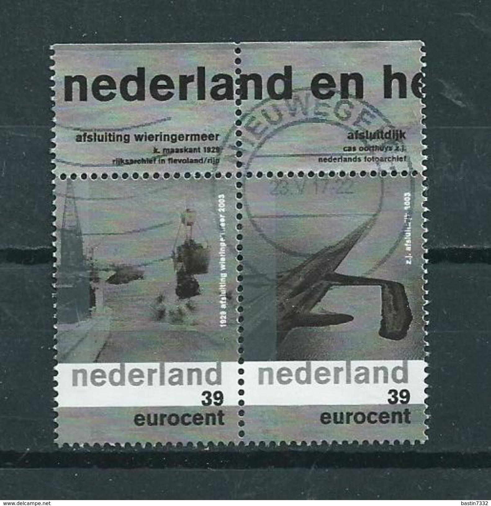 2003 Netherlands Pair/paar Wieringermeer/afsluitdijk+tab Used/gebruikt/oblitere - Periode 1980-... (Beatrix)