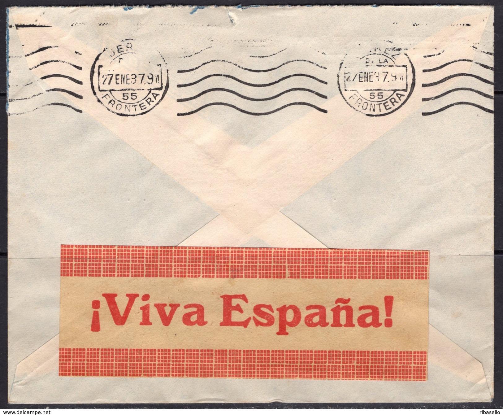 España 1937. Canarias. Carta De Las Palmas A Jerez. Censura. - Marcas De Censura Nacional