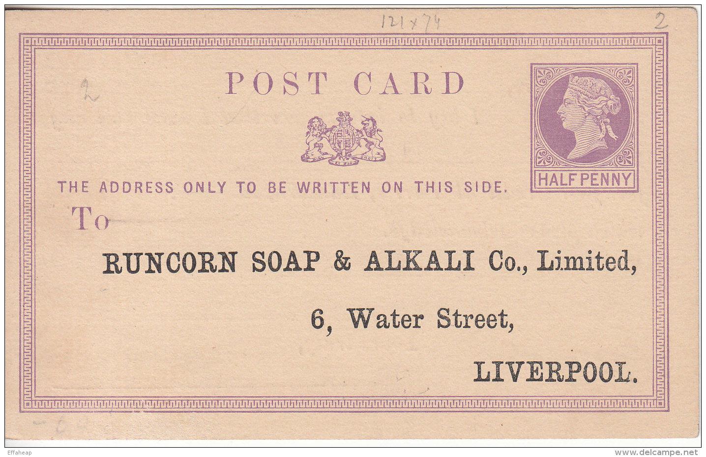 GB: QV ½d Postcard; Runcorn Soap & Alkali Co Ltd, 6 Water St, Liverpool, Unused - Unclassified