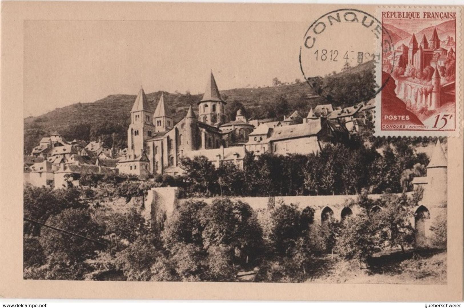 CM 39 - FRANCE Carte Maximum Abbaye De Conques - 1940-49