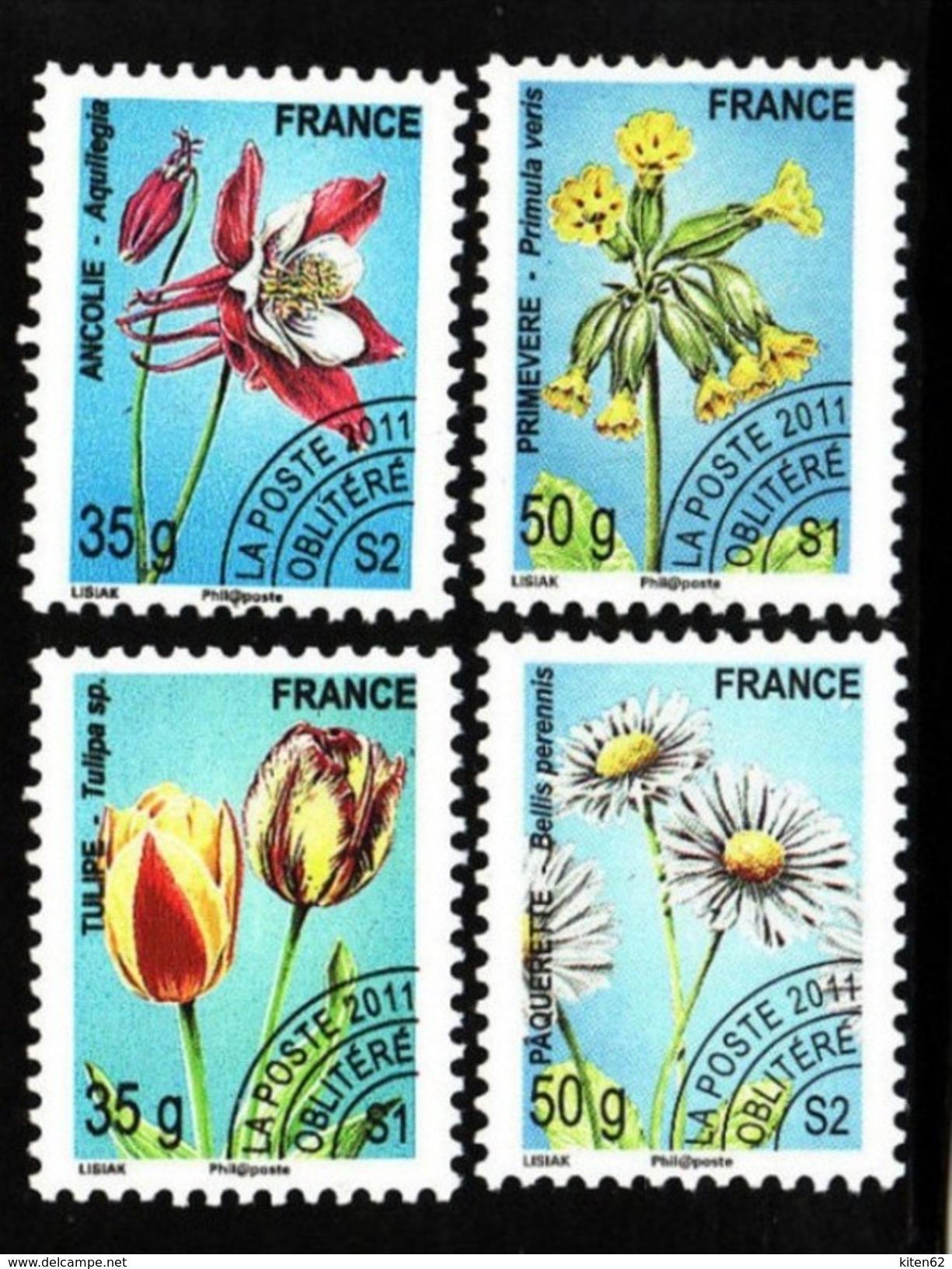 4 Timbres Préoblitérés 2011.Tulipe35g S1. Ancolie 35g S2. Paquerette 50g S2. Primevère 50g. S1 - Precancels