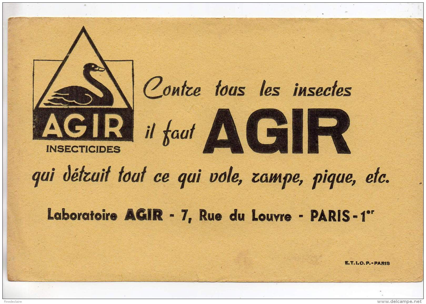 Buvard - Agir, Insecticides - Paris - Buvards, Protège-cahiers Illustrés