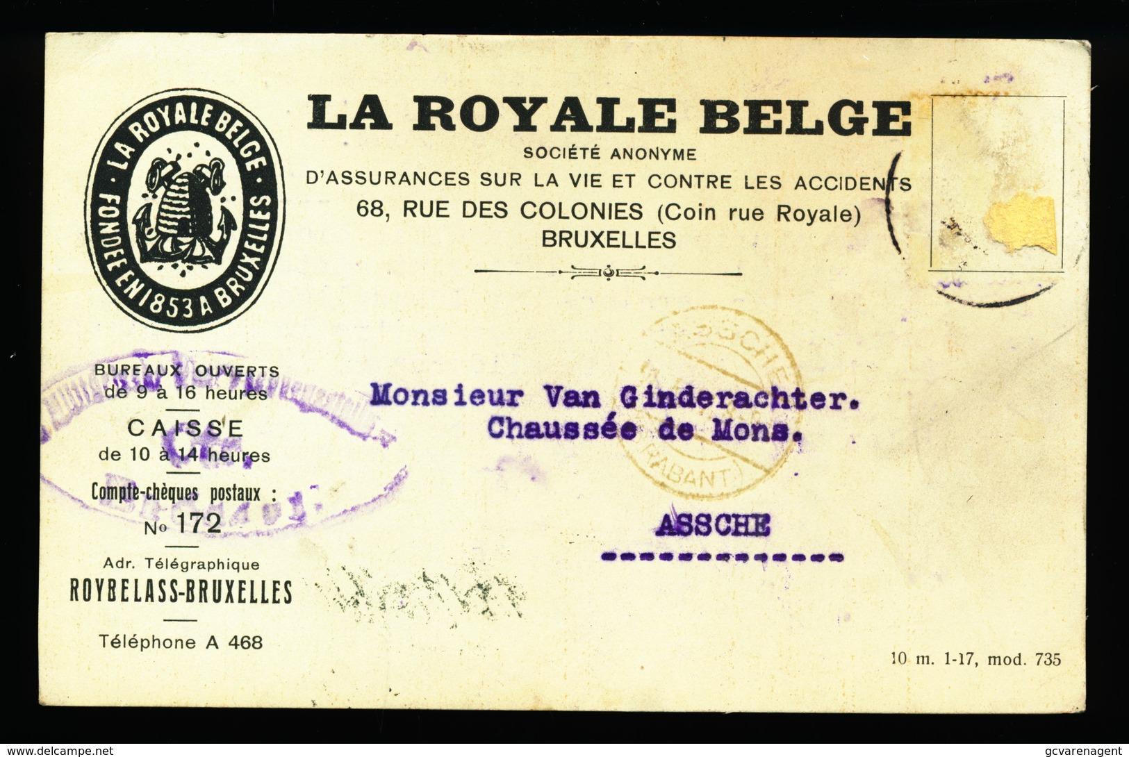 BRUXELLES 1917 - LA ROYALE BELGE   NAAR ASSE VAN GINDERACHTER MET DUITSE CONTROLE STEMPEL - 2 AFBEELDINGEN - Asse