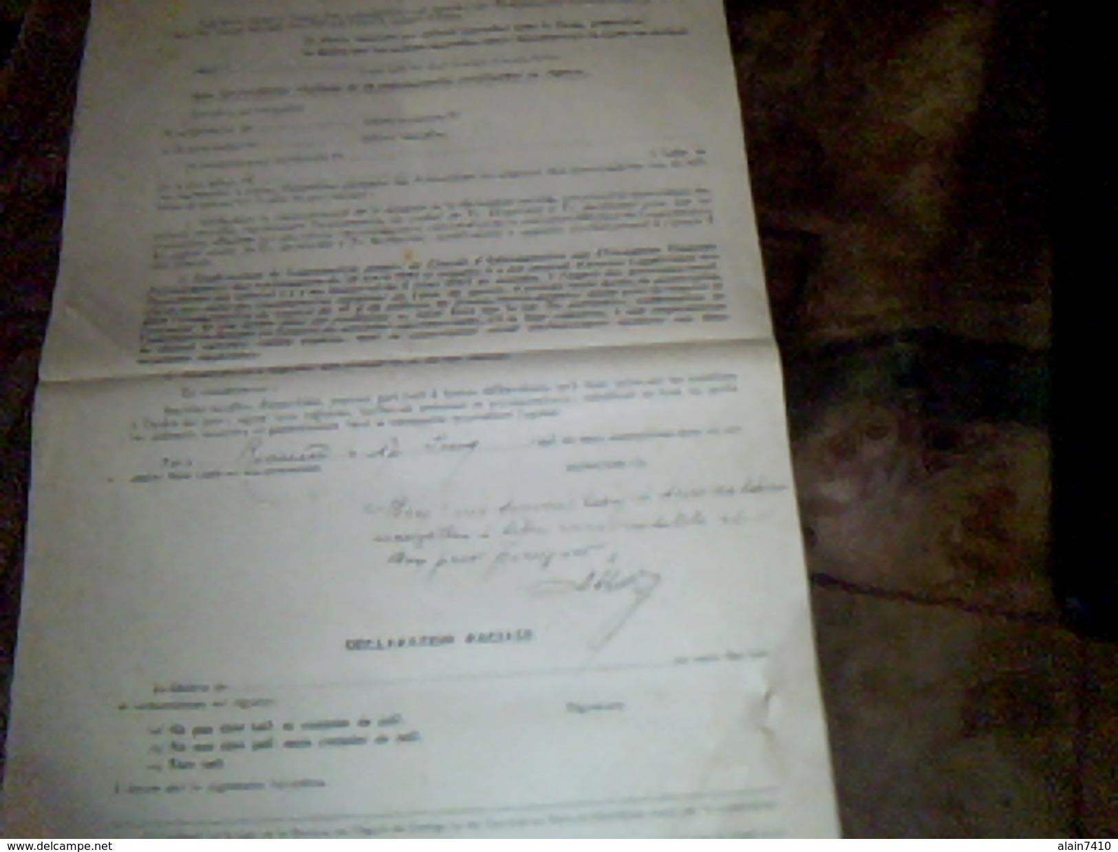 Les Exploitations Electriques A Paris Buletin De Souscription De 600 Fr  Titre Action Annee 1943 - Electricité & Gaz