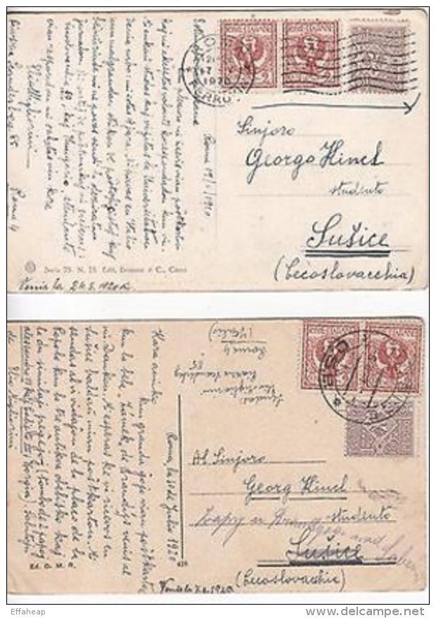 Italy: 4 Postcards, Rome To Czechoslovakia, 1920 (2), 1921 & 1924 - Italy