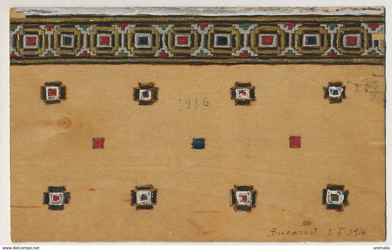Carte Art Deco Faite à Bucarest Romania 1916 Peinture Sur Bois Real Wood Painted Postcard - Cartes Postales