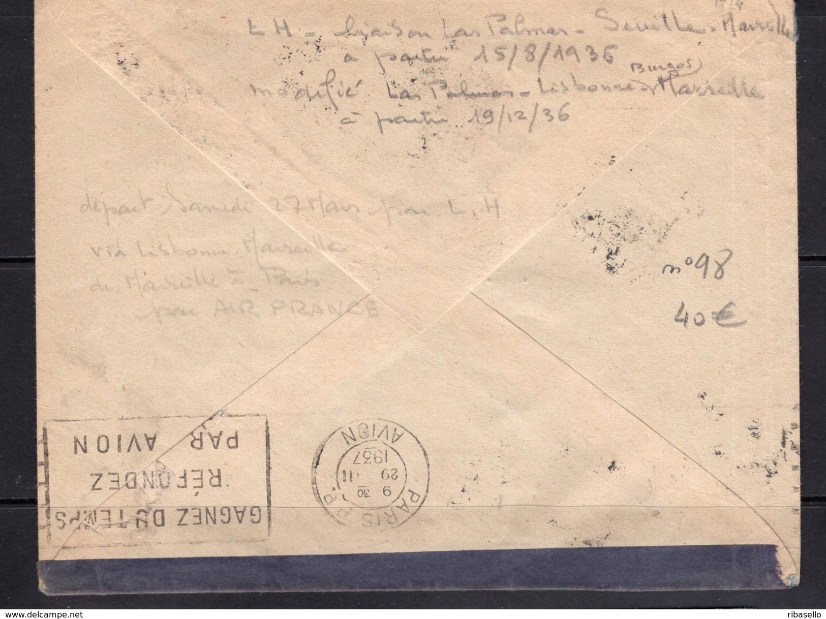 España 1937. Canarias. Carta De Las Palmas A Bruselas. Censura. - Marcas De Censura Nacional