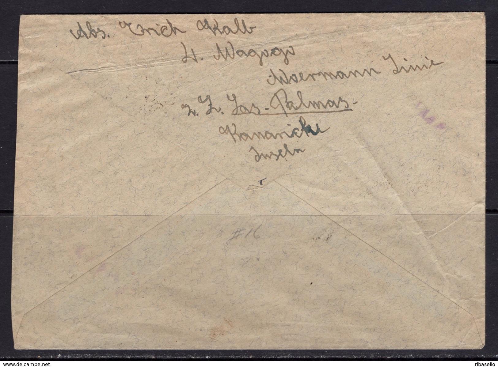 España 1937. Canarias. Carta De Tenerife A Mittweida. Censura. - Marcas De Censura Nacional