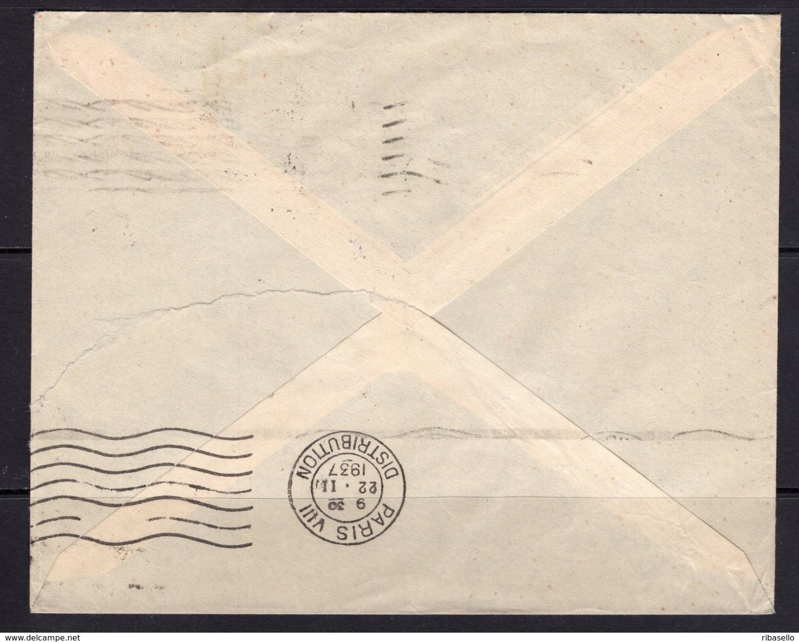 España 1937. Canarias. Carta De Las Palmas A Paris. Censura. - Marcas De Censura Nacional