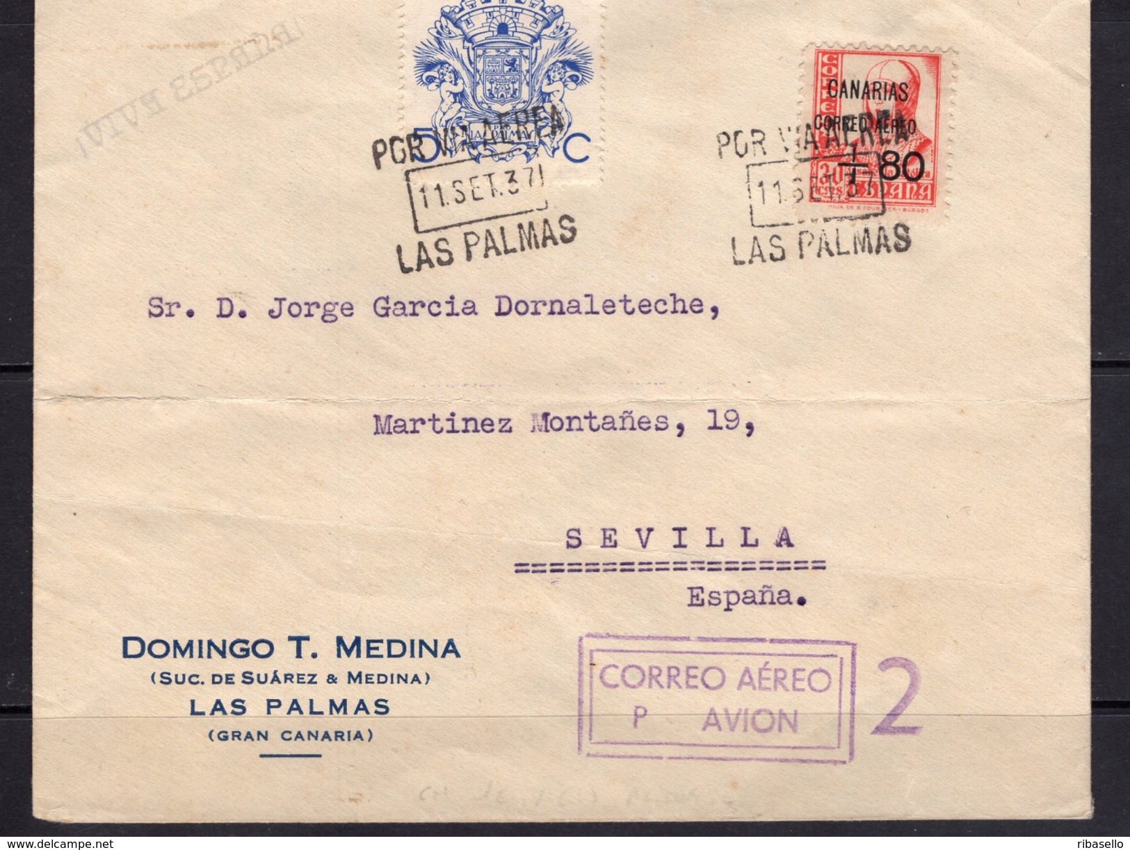 España 1937. Canarias. Carta De Las Palmas A Sevilla. Censura. - Marcas De Censura Nacional