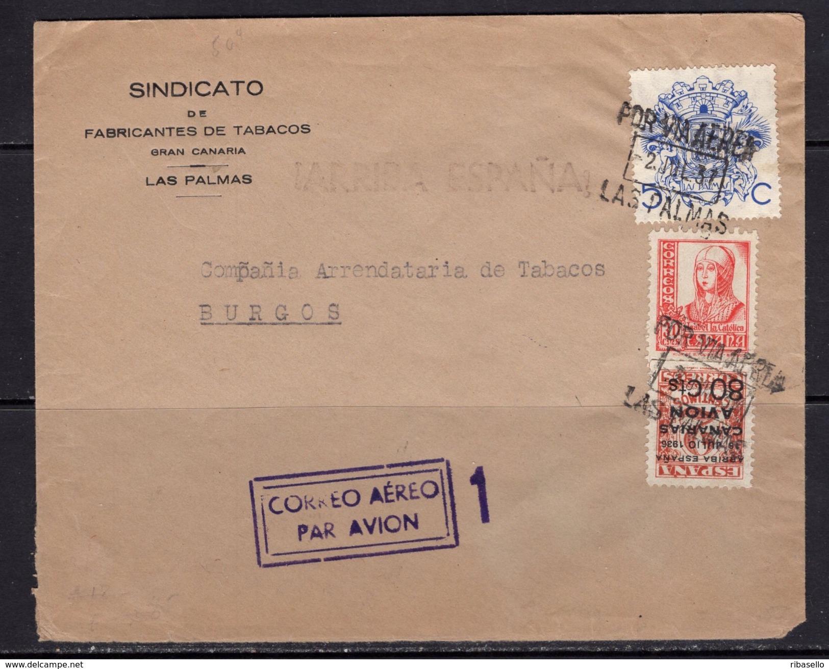 España 1937. Canarias. Carta De Las Palmas A Burgos. Censura. - Marcas De Censura Nacional