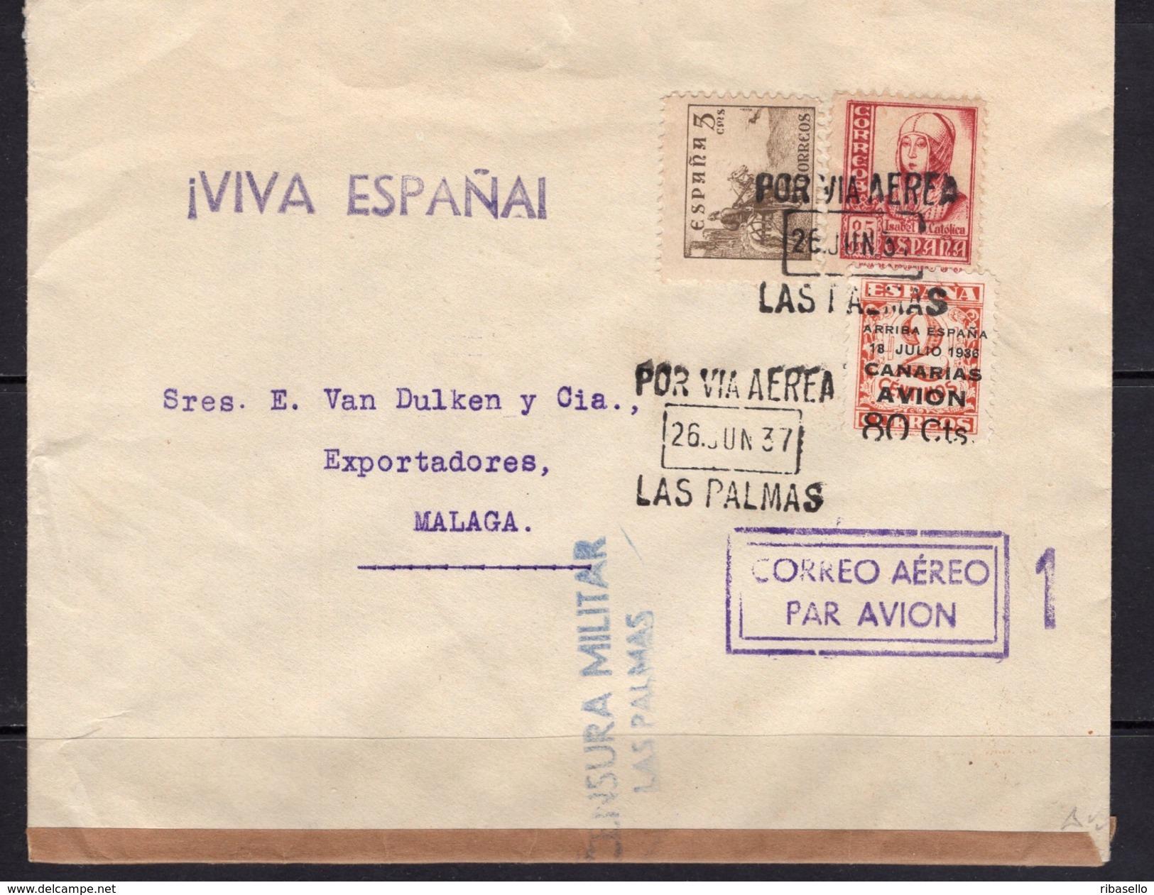 España 1937. Canarias. Carta De Las Palmas A Malaga. Censura. - Marcas De Censura Nacional