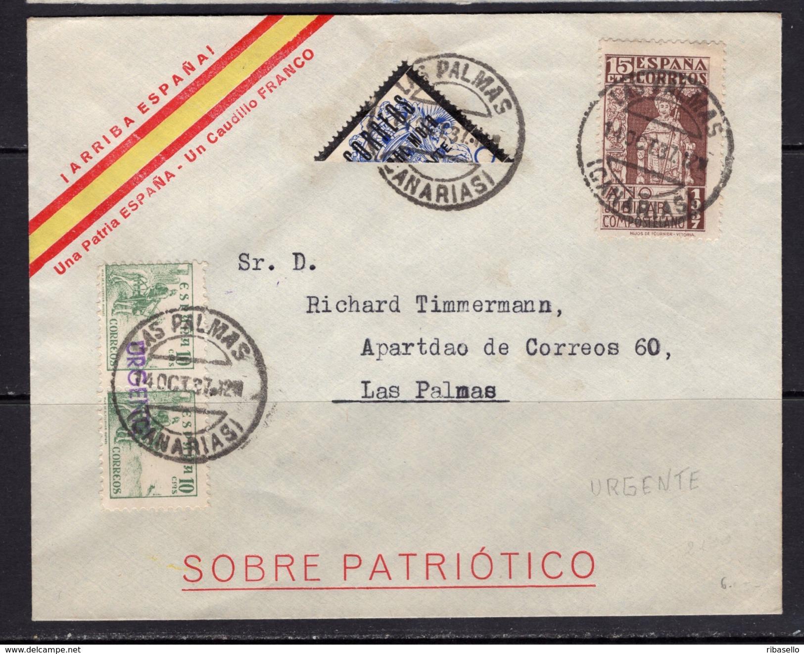 España 1937. Canarias. Correo Interior Urgente De Las Palmas. Censura. - Marcas De Censura Nacional