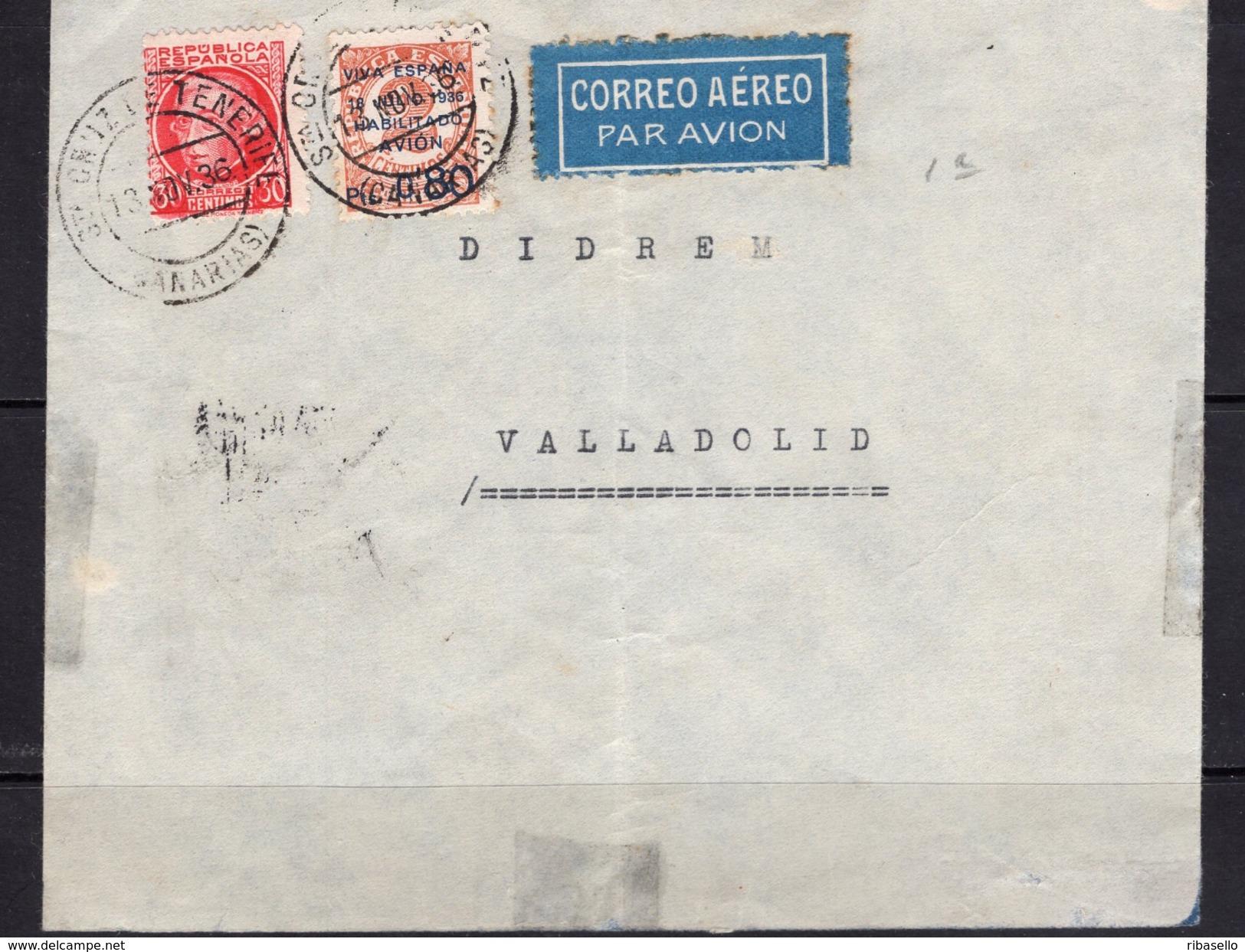 España 1936. Canarias. Carta De Tenerife A Valladolid. Censura. - Marcas De Censura Nacional