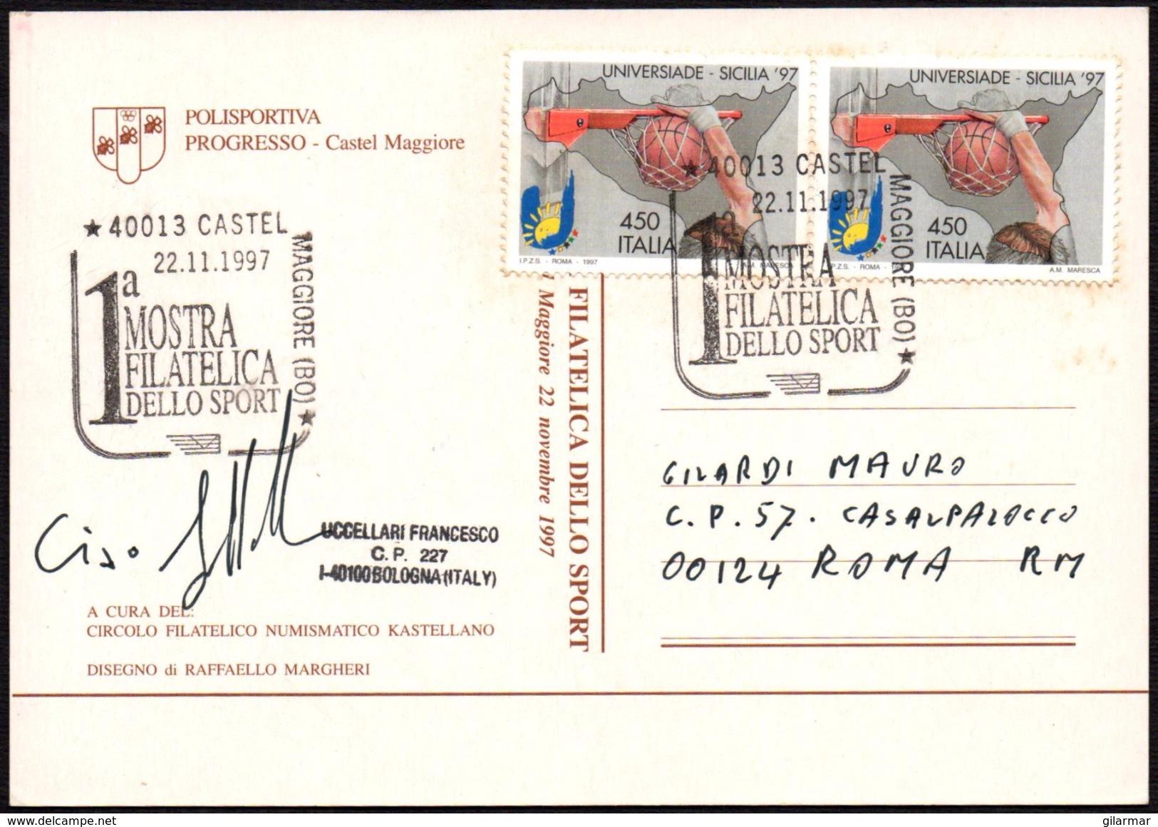 ITALIA CASTEL MAGGIORE (BO) 1997 - 1^ MOSTRA FILATELICA DELLO SPORT - CARTOLINA UFFICIALE VIAGGIATA - FRANCOBOLLI BASKET - Non Classificati