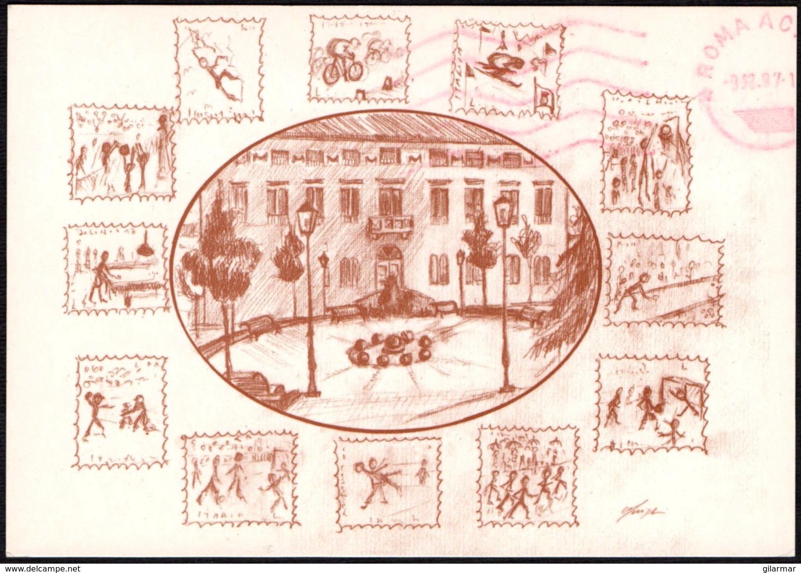 ITALIA CASTEL MAGGIORE (BO) 1997 - 1^ MOSTRA FILATELICA DELLO SPORT - CARTOLINA UFFICIALE VIAGGIATA - FRANCOBOLLI BASKET - Francobolli