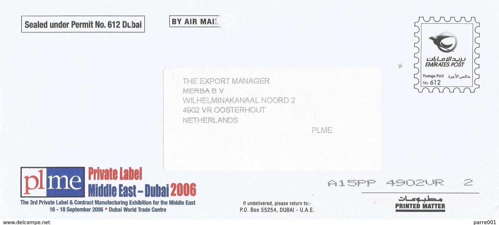 United Arab Emirates UAE 2006 Dubai Postage Paid Permit No. 612 Cover - Verenigde Arabische Emiraten