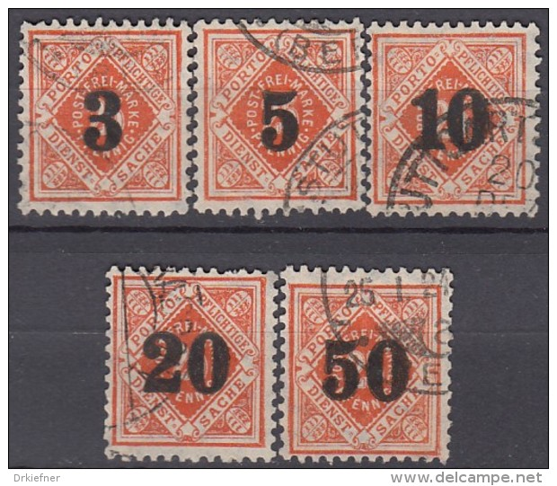 WÜRTTEMBERG  184-188, Gestempelt, Dienstmarken 1923 - Wurttemberg