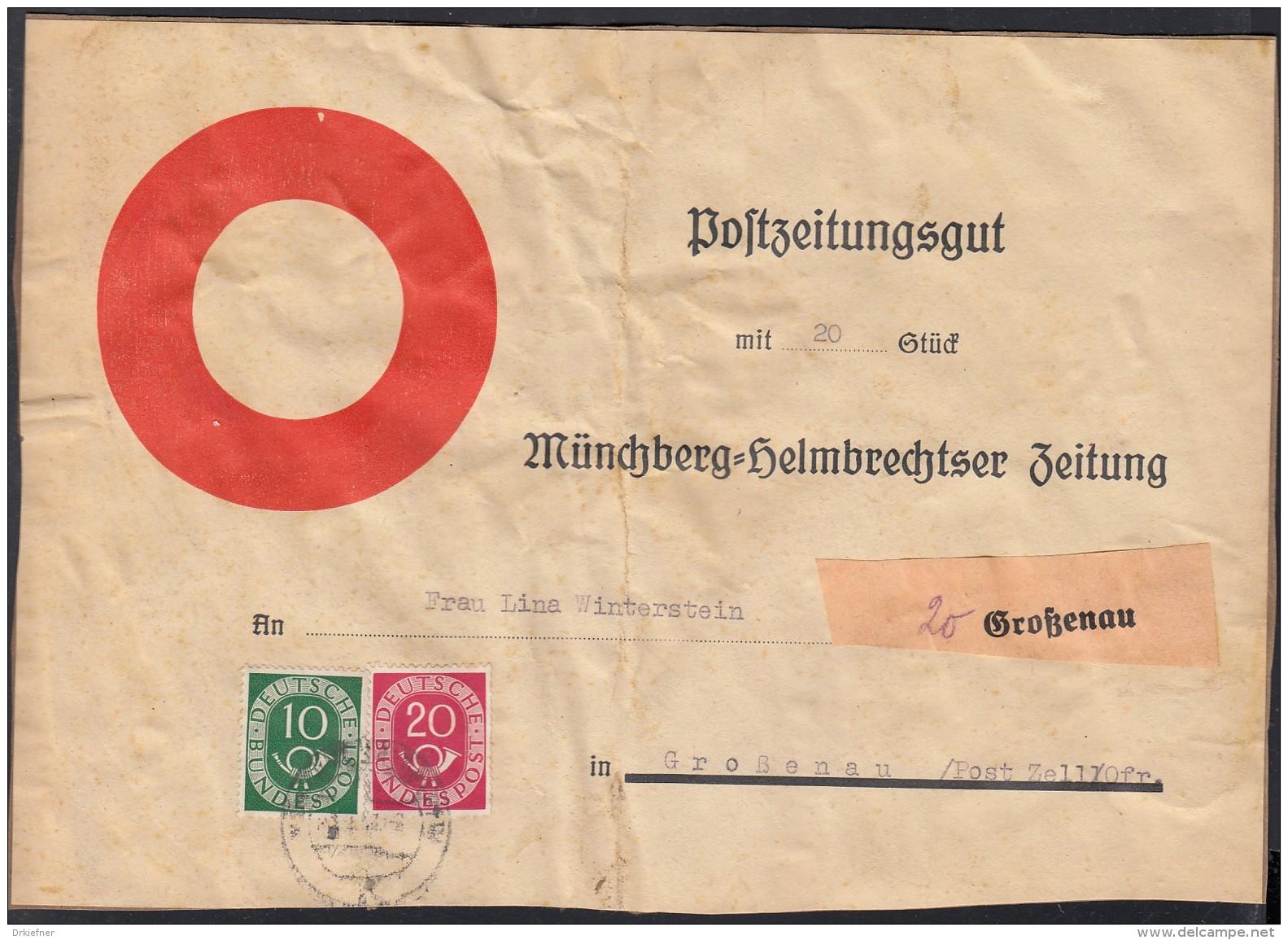"""BRD 128, 130 MiF Auf Vordruck-Aufkleber """"POSTZEITUNGSGUT"""" Großenau Ortszustellung 1952 Auf Paketstück - BRD"""