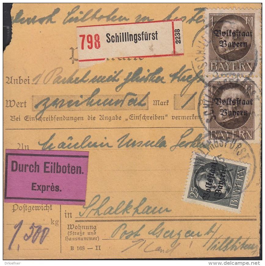 INFLA BAYERN 122 II A, 2x 128 II A MiF Auf Eil-Paketkarte, Gestempelt Schillingsfürst 15.JUL 1919 - Infla