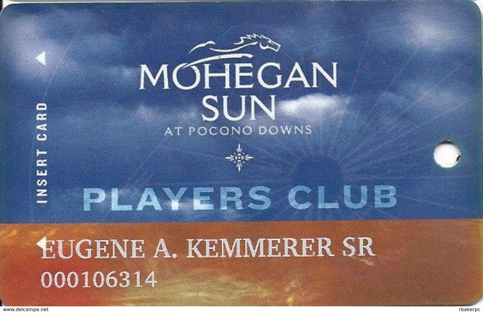 Mohegan Sun Casino At Pocono Downs - Wilks-Barre, PA USA - Slot Card - BLACK REVERSE! - Casino Cards