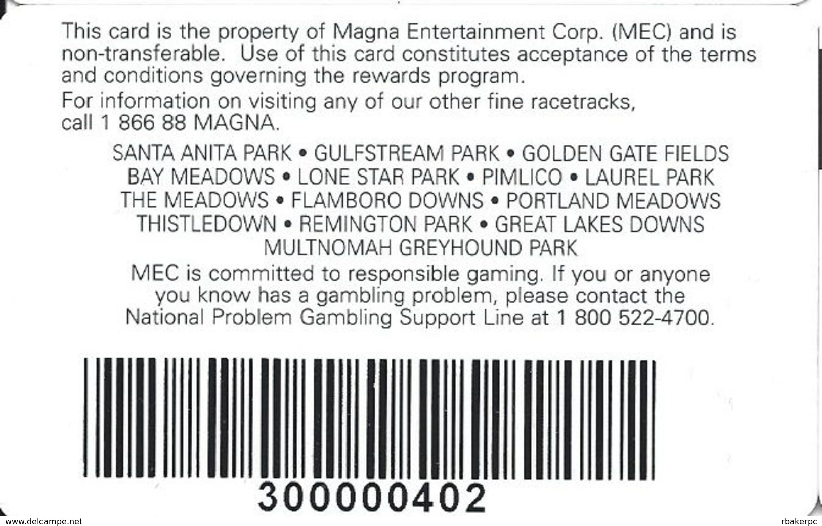 Great Lakes Downs - Muskegon, MI USA - Player Rewards Card - Casino Cards