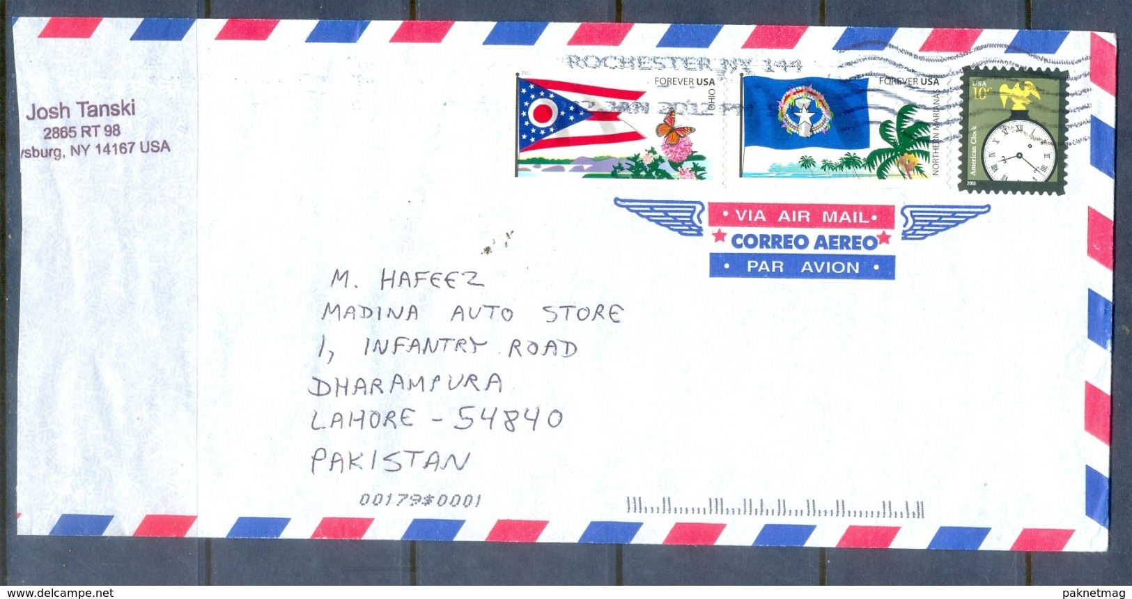 C295- Post From USA To Pakistan. Flag. Butterfly. Tree. Plants. Clock. - United States