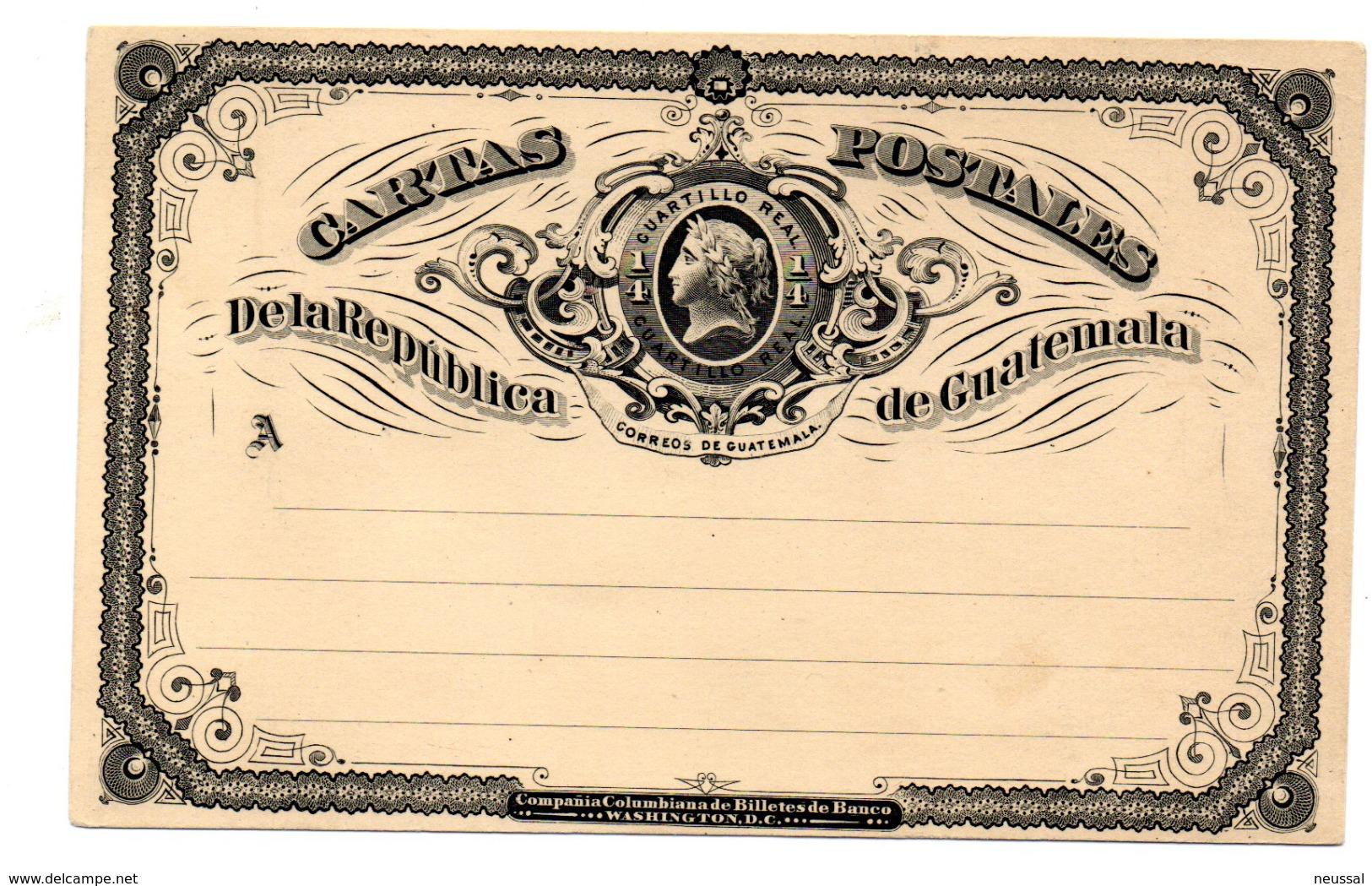 Entero Postal De Guatemala. 1/4 Cuartillo Real. - Guatemala