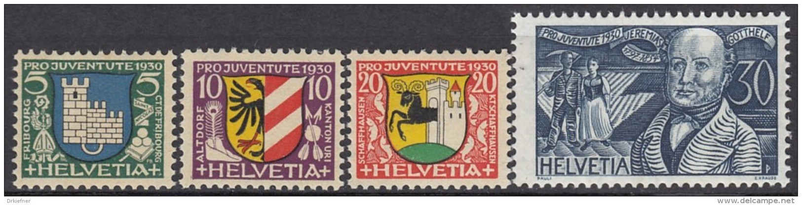"""SCHWEIZ 241-244, Postfrisch **, """"Pro Juventute"""" 1930, Wappen, Jeremias Gotthelf - Pro Juventute"""