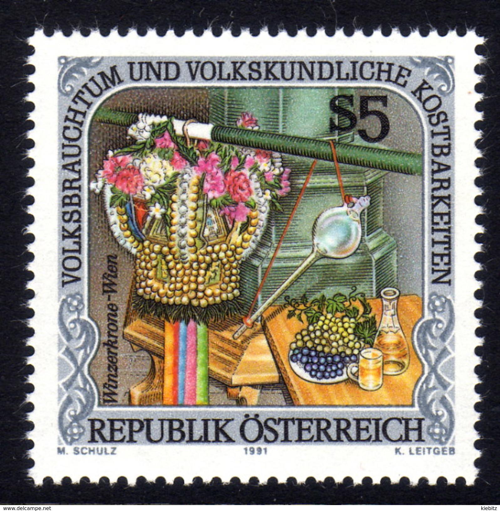 ÖSTERREICH 1991 ** Wein, Weintrauben, Zugheber, Winzerkrone - MNH - Wein & Alkohol