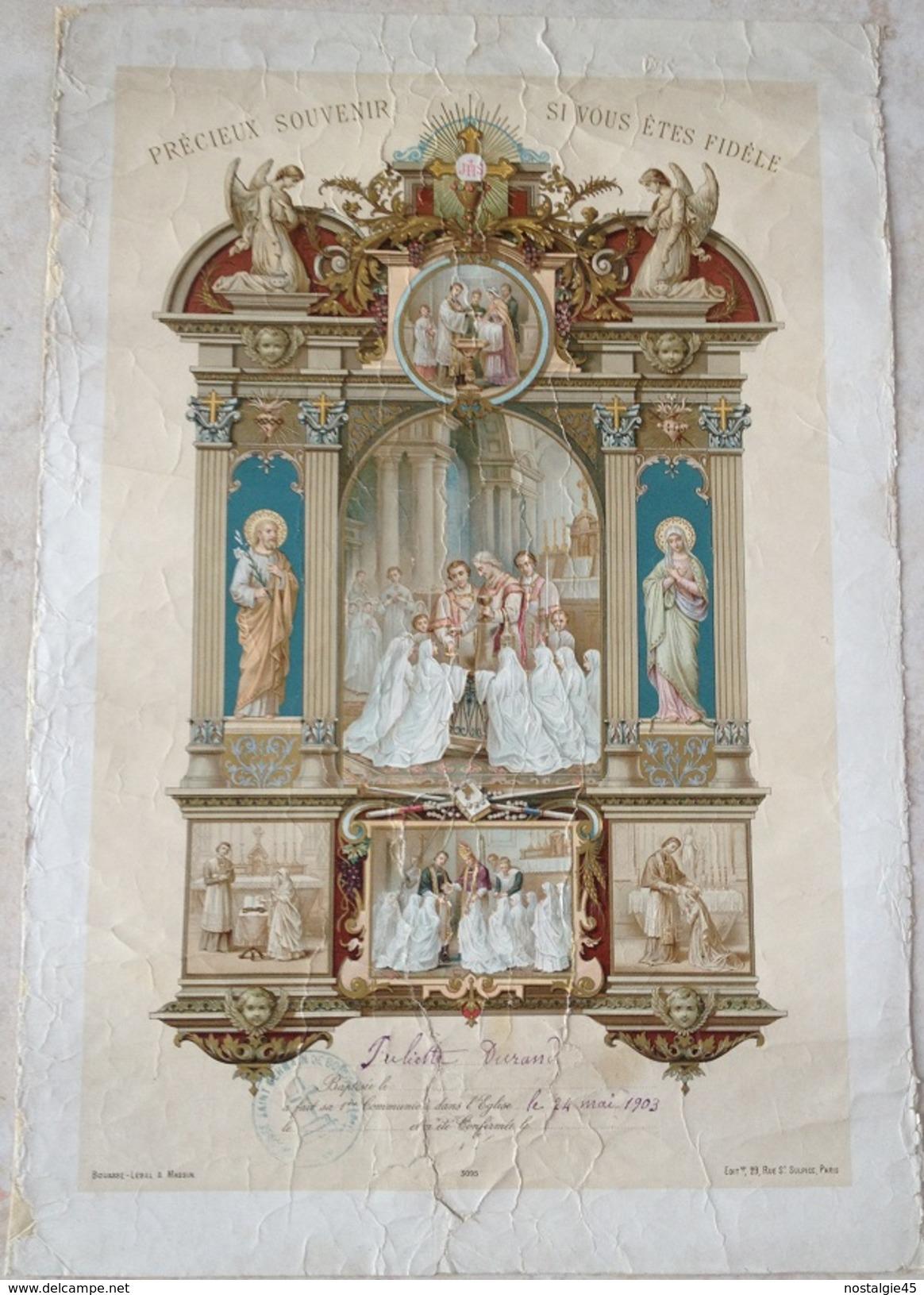 PRECIEUX SOUVENIR SI VOUS ETES FIDELE  Bouasse-Lebel & Massin 1ère Communion 1903 Image 3095 Ed St Sulpice Paris - Vieux Papiers