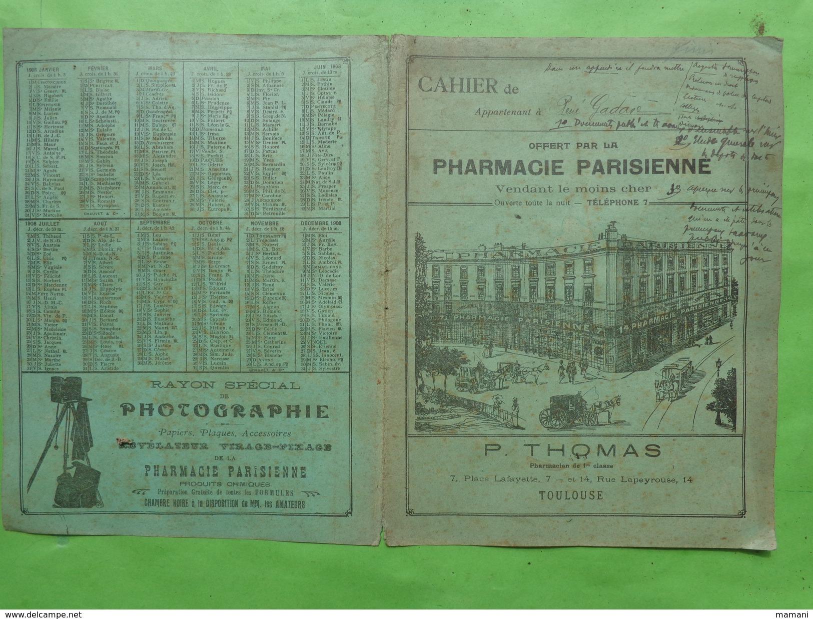 Couverture Seule De Cahier -pub Pharmacie Parisienne -thomas A Toulouse Appartenant A Rene Gadave - Protège-cahiers