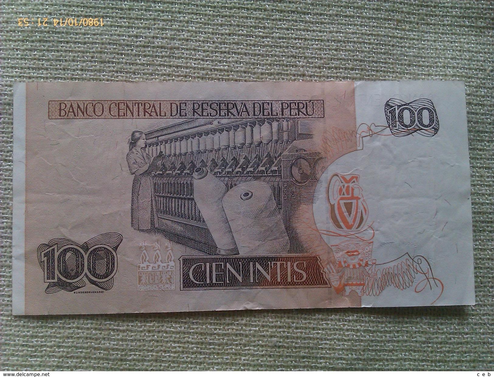 Billete Perú. 100 Intis. 1987. - Perú
