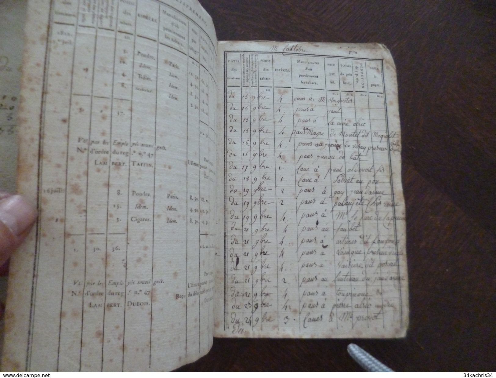 Livret De Débitant De Tabac Avec Sa Reliure 18ème. Vers 1833 Rare A Re Situer - Documents