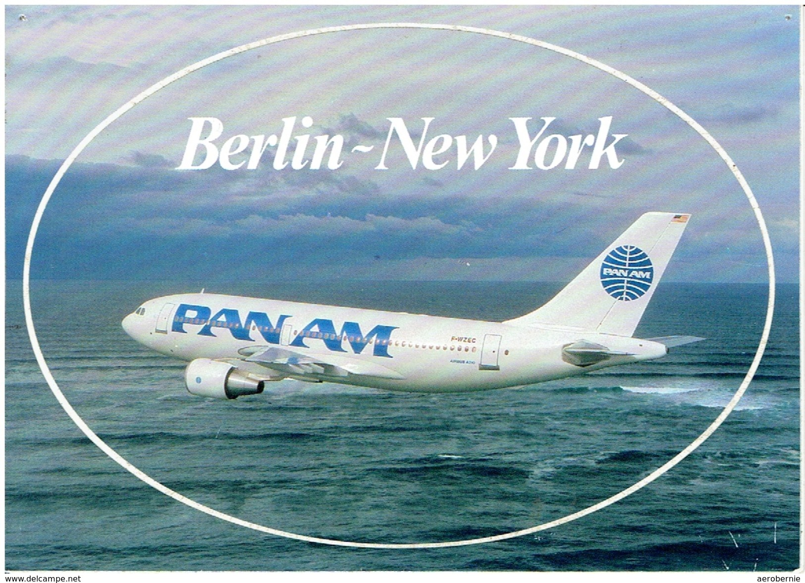 Sticker-Postkarte PAN AMERICAN - Airbus A-310 (Airline Issue) - 1946-....: Moderne