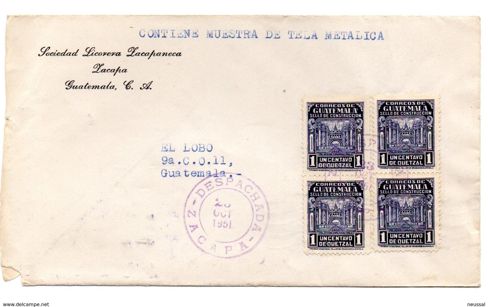 Carta De Guatemala De 1951 . Publicidad Licorera. - Guatemala