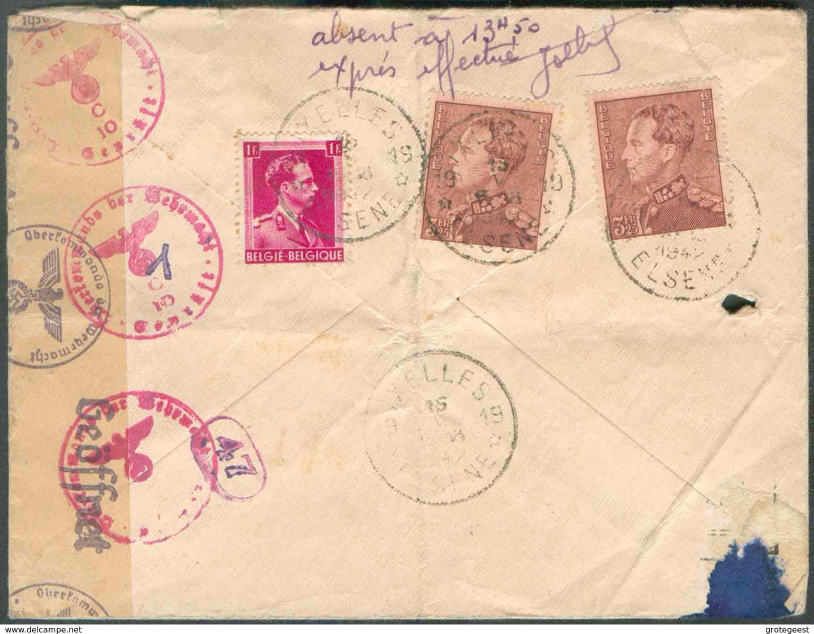 IXELLES 19 N°528-531(2x Le 3Fr.25 POORTMAN) Obl. Sc AgenceIXELLES 19 * Au Verso D'une Lettre Recommandée Et Exprès (Etiq - Postmarks With Stars