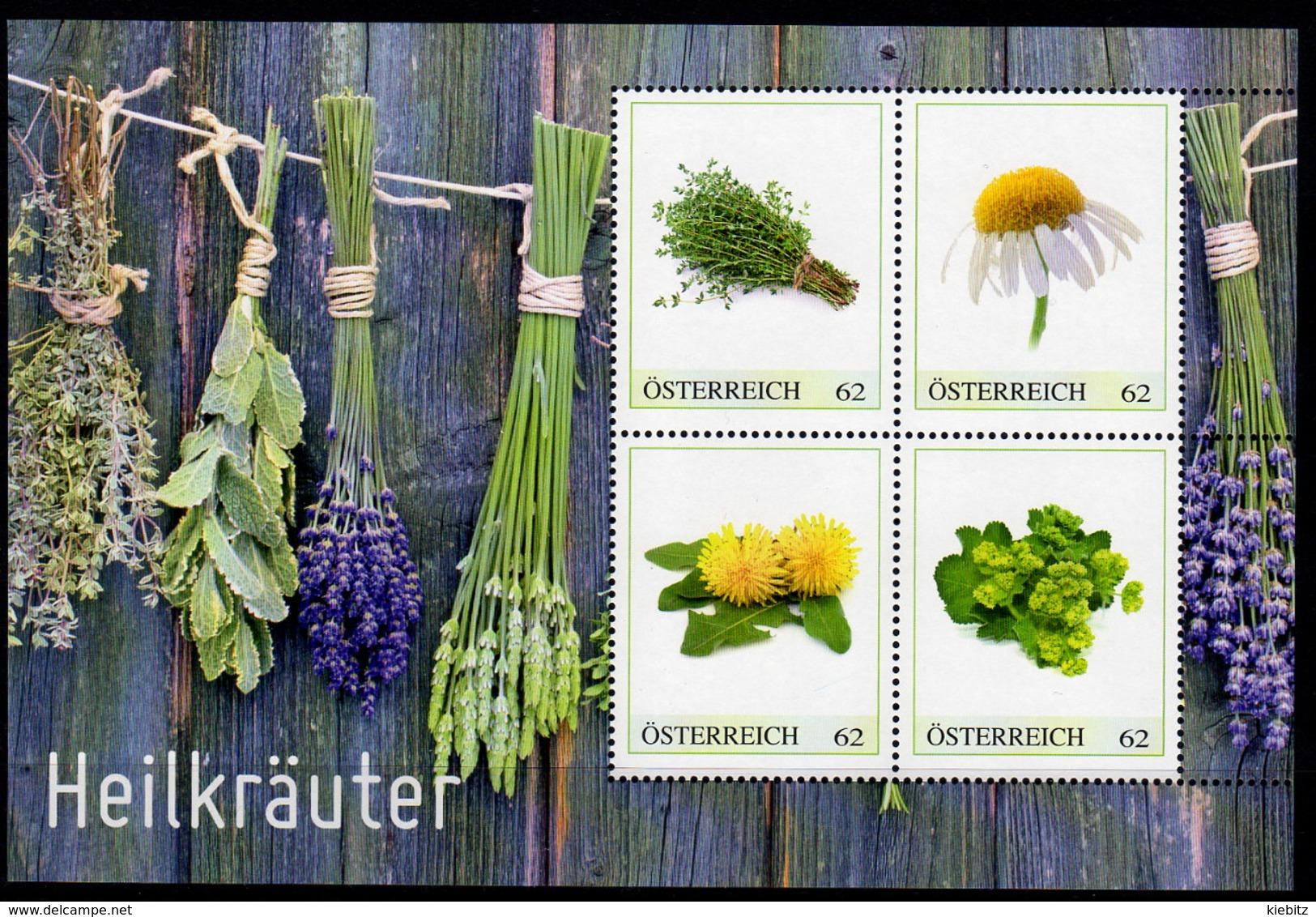 ÖSTERREICH 2013 ** Heilpflanzen - Thymian Kamille Löwenzahn Frauenmantel - PM Personalized Bloc MNH - Heilpflanzen