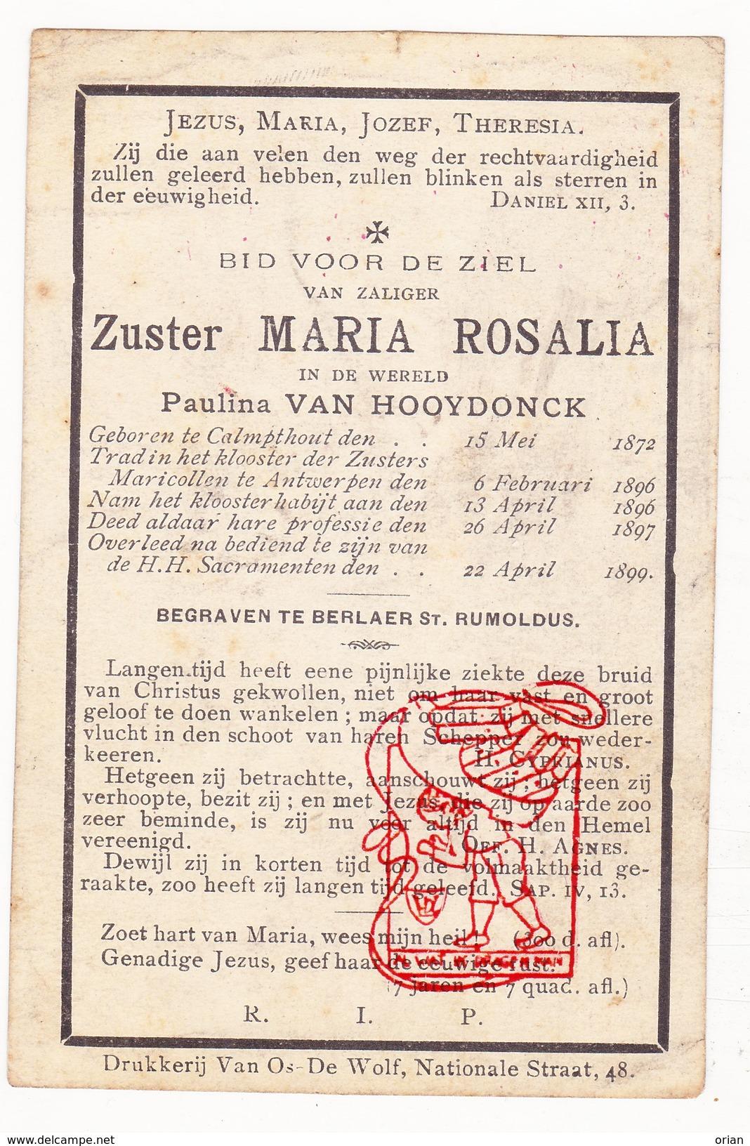 DP 26j. Paulina Van Hooydonck Zr. Zuster Rosalia ° Kalmthout 1872 † Antwerpen 1899 Berlaar Maricolen Maricollen - Images Religieuses