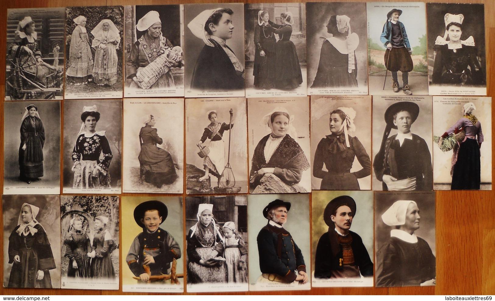 LOT 23 CARTES POSTALES ANCIENNES COSTUMES BRETONS ET COIFFES - Costumi