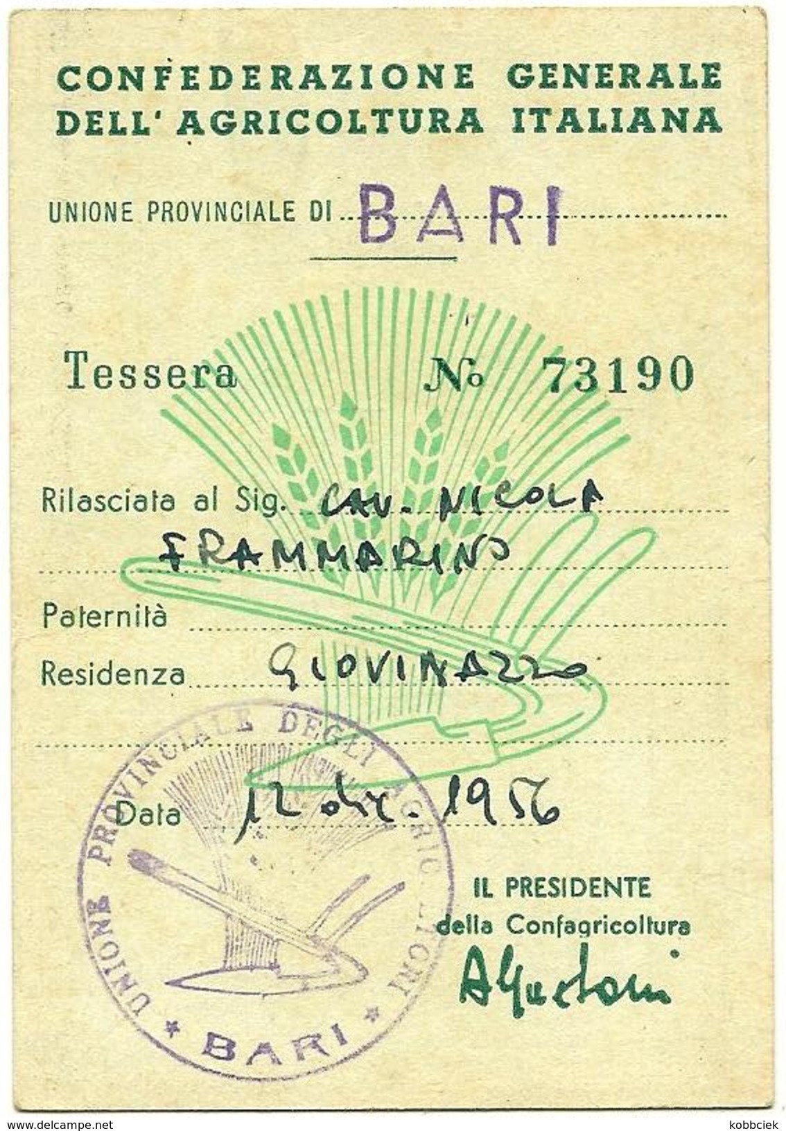TESSERA CONFEDERAZIONE GENERALE DELL'AGRICOLTURA ITALIANA BARI - Agricoltura