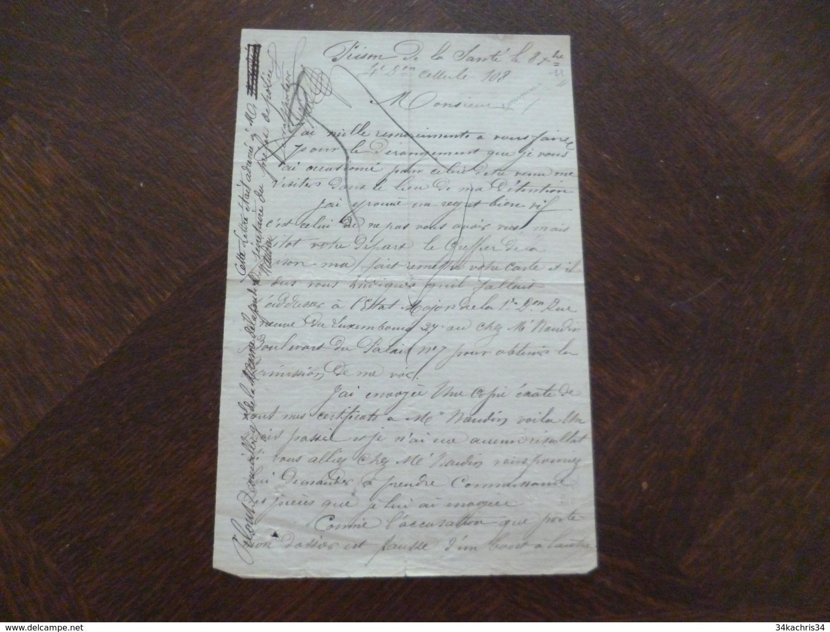 1871 Répression Après La Commune LAS Autographe Jahet Prisonnier à La Prison De La Santé Qui Clame Son Innocence. - Manuscripts