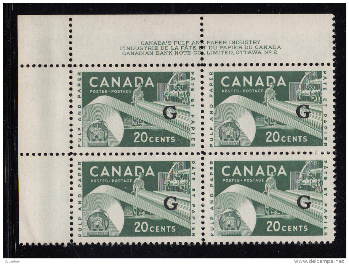 Canada MNH Scott #O45 'G' Overprint On 20c Paper Industry Plate #2 Upper Left Corner - Officials