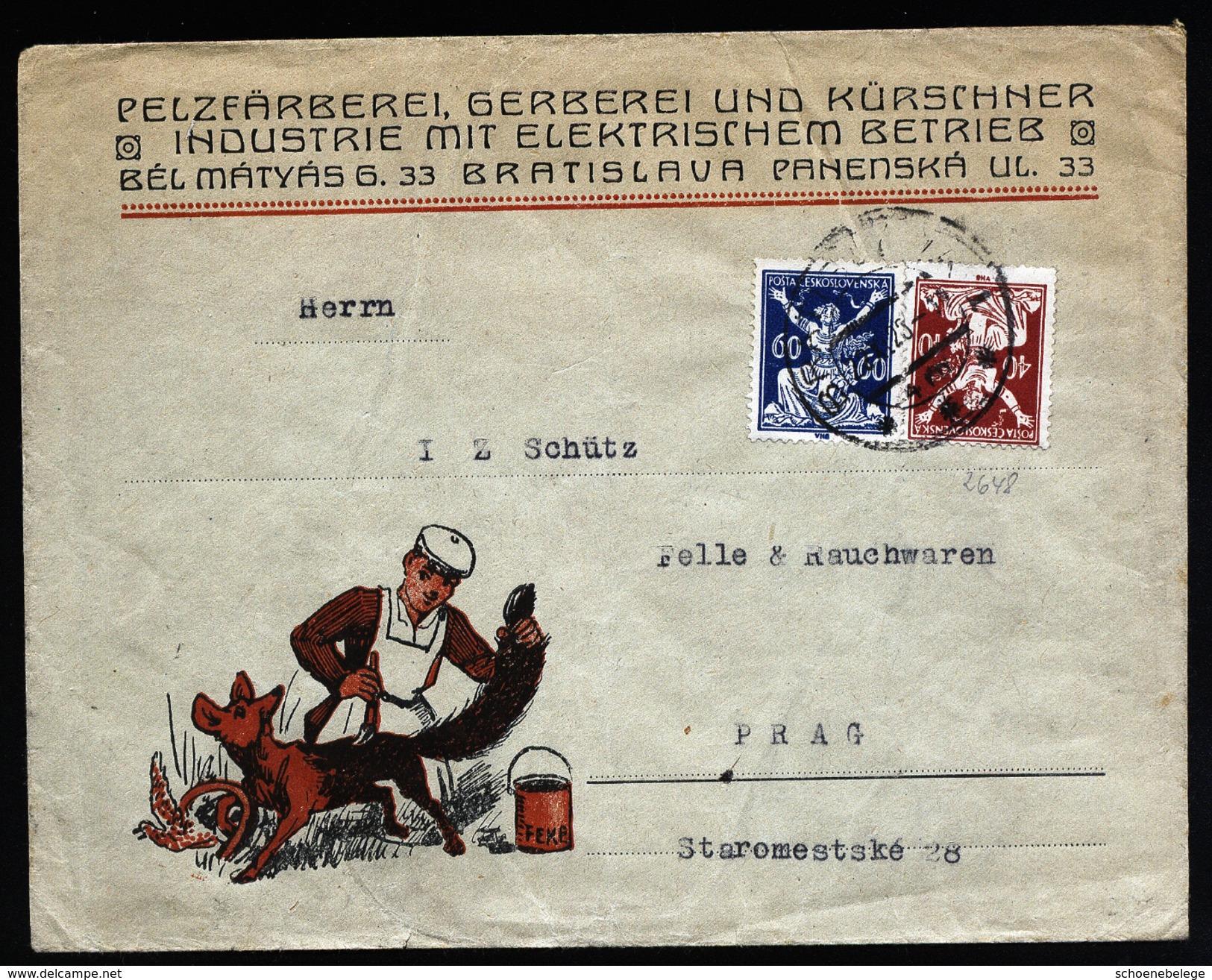 A4680) CSR Czechoslovakia Werbebrief Bratislava 23.11.23 Abbildung Fuchs - Tchécoslovaquie